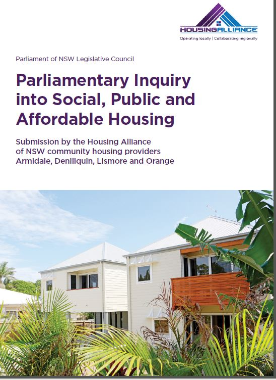 Cover for HA submission to NSW Parliamentary Inquiry into Social, Public & Affordable Housing